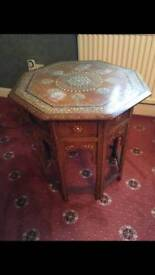 Decorative hexagonal wooden side table