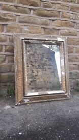 Large Huge Chunky Antique French Mirror Foxed Gilt Giltwood Wood Gold Gesso Golden Vintage