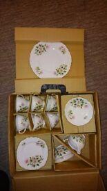 "Vintage (1949) Bone China Tea Set ""Lydford"" by Royal Vale, boxed, as new."