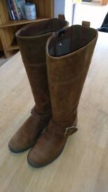 Clarks Tan New Buck Knee High Boots Size 6