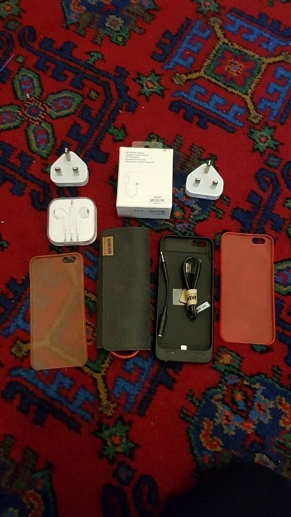 Iphone 6 battery case , charger apple , headphone earpods apple , case