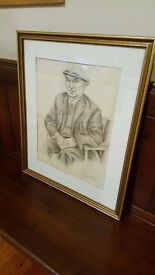 framed pencil drawing of a Durham miner