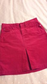 M & S Indigo Size 10 Red cord skirt