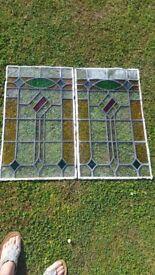 2 stain glass lead window glass
