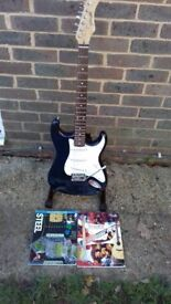 Stratocaster Style Guitar-Blue Stagg+Tremolo Arm+Strings+Plectrums+Books