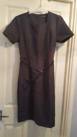 NEW ladies dark grey dress with belt. Size 12. Never worn