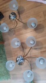 2 sets of ceiling lights and Tinkerbell lampshade