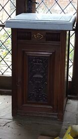 Solid wood/ marble topped cupboard