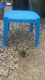 Swing/small plastic table/large canvas