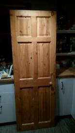 6 paneled pine colonial door 27 inch wide