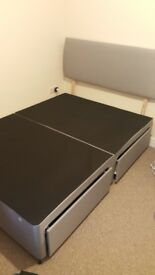 Double bed frame with 2 drawers-storage