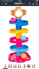 Elover Ball Drop Toys Swirl Ball Ramp 5 Layer Tower Run includes 3 Colorful Balls