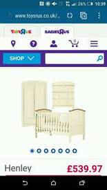 Nursery furniture set wardrobe, cot bed and changing table