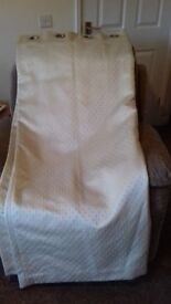 Curtains cream/gold colour, lined and weighted, eyelet top