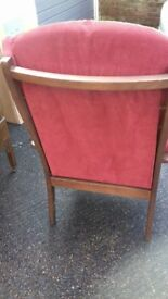 Upright red comfy chair