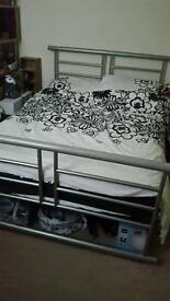 Silver double bed frame