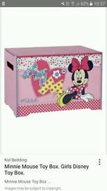 Minnie mouse toy box and matching bookcase