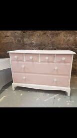 Gorgeous pink and white chest of drawers