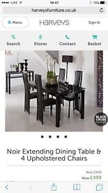 Black glass dining table and 4 chairs. **brand new**