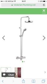 Brand new Bristan Carre Exposed Fixed Head Bar Shower with Diverter + Kit