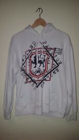 MAKE AN OFFER | WINTER HOODIE | FOREVER ENGLAND Men's White Medium Hoodie Top | Sweats Comfy Cool