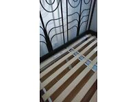 IKEA Metal Black double bed frame with mattress and protector