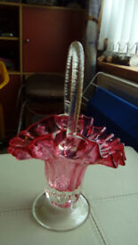 Beautiful Cranberry Glass Basket