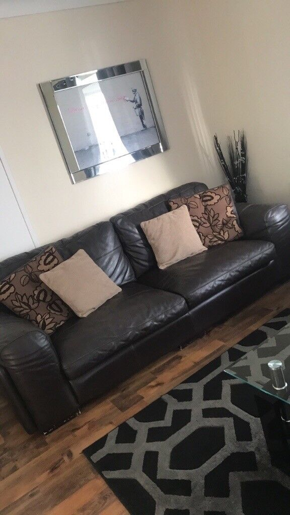 Brown Real Leather Couch