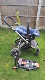 iSafe 3 in 1 baby stroller travel cot and car seat system with 2 isofix car seat base navy blue