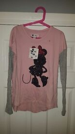 Girls age 8-9 gap kids minnie mouse disney top, brand new with labels