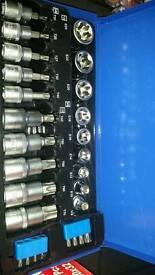 Star socket and bit set 27pc 3/8 1/2