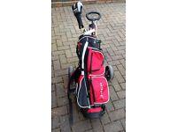 Junior golf trolley plus clubs