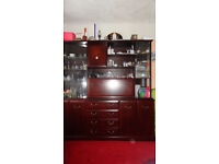 Large wood Living Room Display Cabinet with wine cupboard Glass doors, Drawers & Shelves
