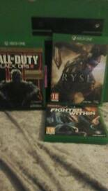 X BOX ONE AND KINNECT AND THREE GAMES