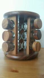 Wooden, revolving, spice rack.