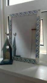 Bespoke mirror. Painted white with blue stencilling.