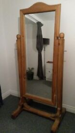 Large Solid Oak Mirror on a Stand Heavy !