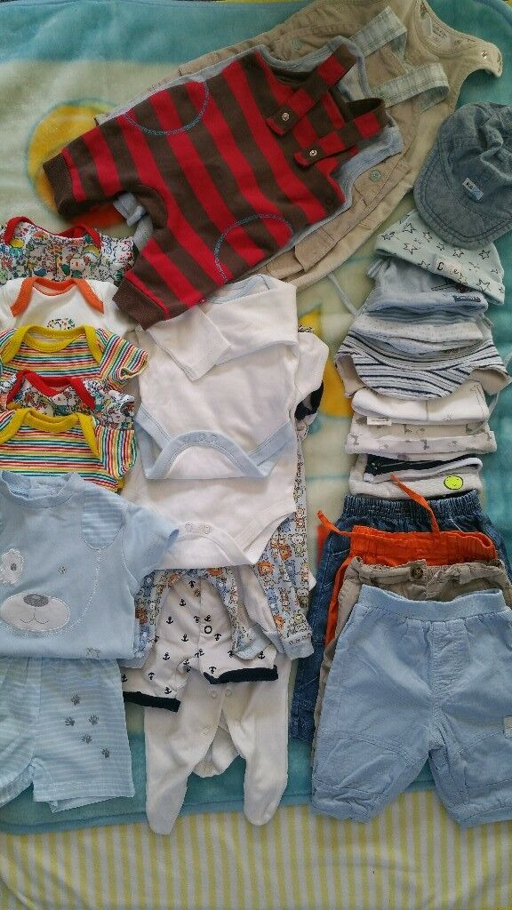 Bundle of baby boy clothes (0-3 months)plus pack of nappies