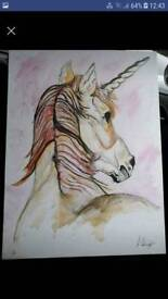 Acrylic canvas painting of a unicorn
