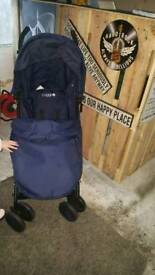 Blue pushchair with cosy toes and rain cover as new