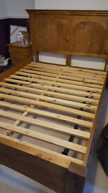 Oak Solid-Wood High-Quality Double Frame Bed