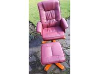 Leather Massage Chair with Footsool Remote Control