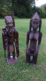Pair of African wooden statues from Mali