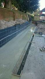 Footings, foundation, reinforced concrete retaining wall, groundwork, RC formwork