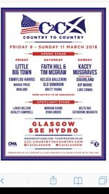 Country to Country 3 day Festival Pass SSE Hydro GLW 9/3/18-11/3/18, Hotel also available x 3 nights