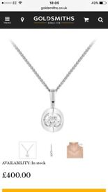 9ct white gold 0.15ct diamond necklace from goldsmiths