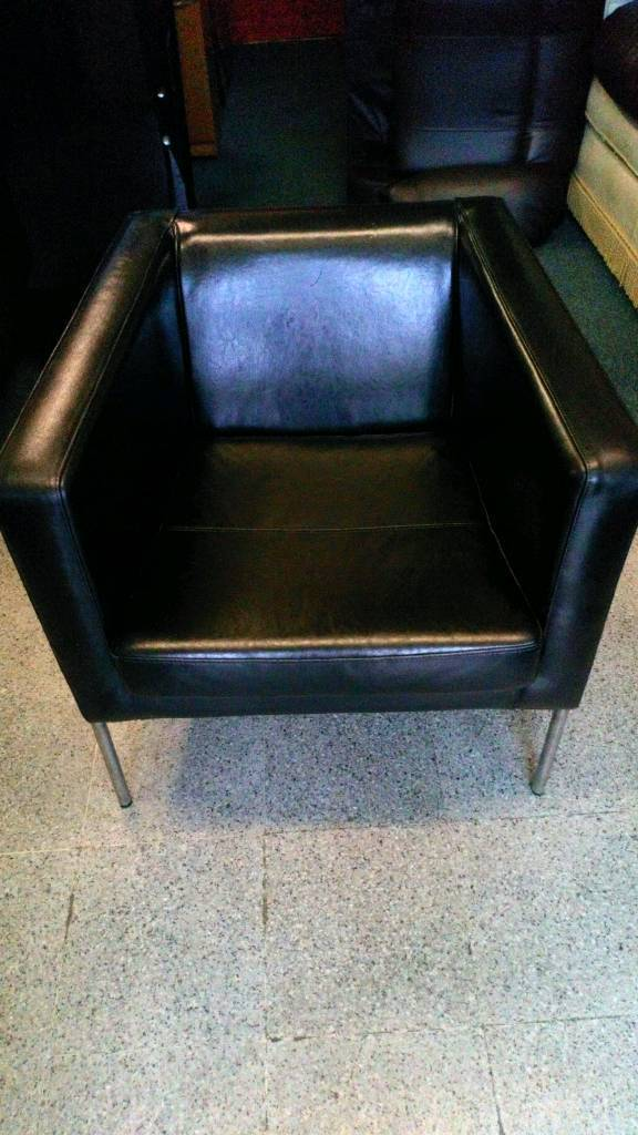 Black real leather easy chair