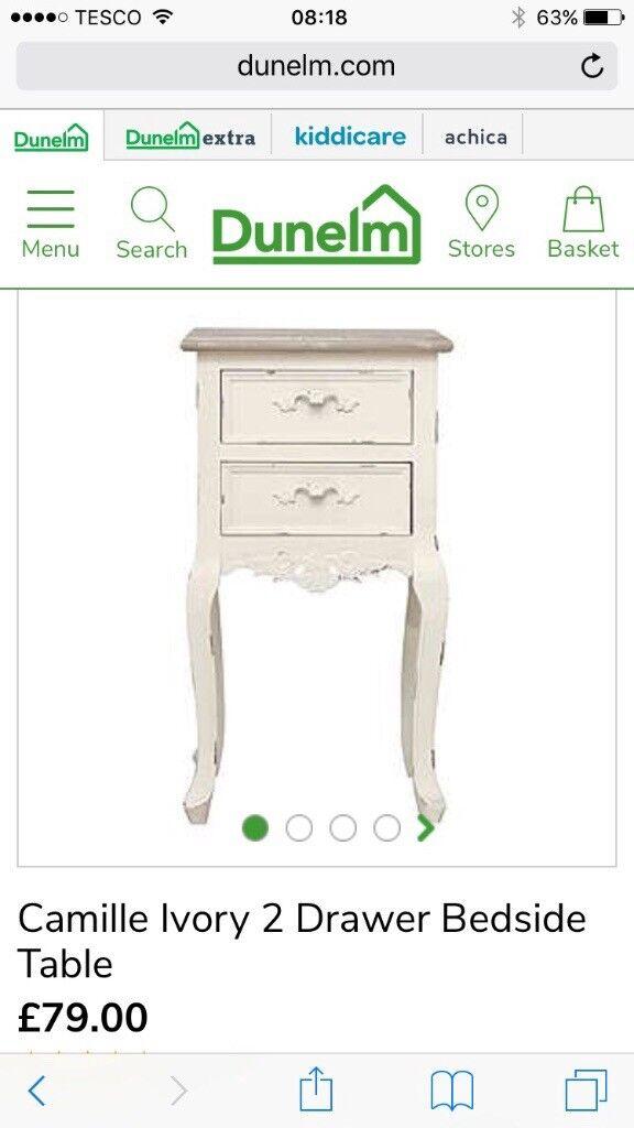 x2 dunelm camille ivory 2 drawer bedside tables in. Black Bedroom Furniture Sets. Home Design Ideas