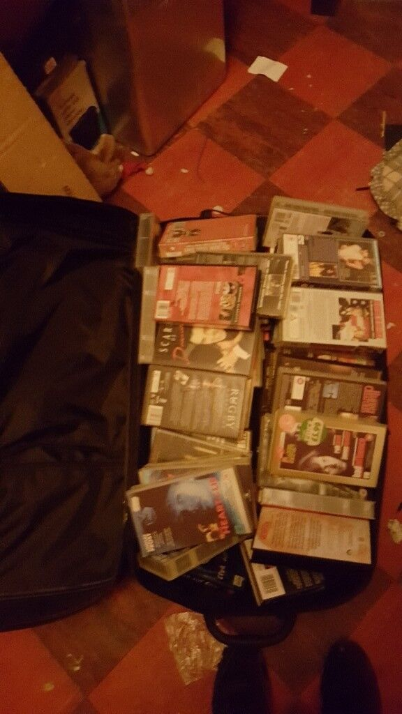 big suitcase full of vhs films all catagories
