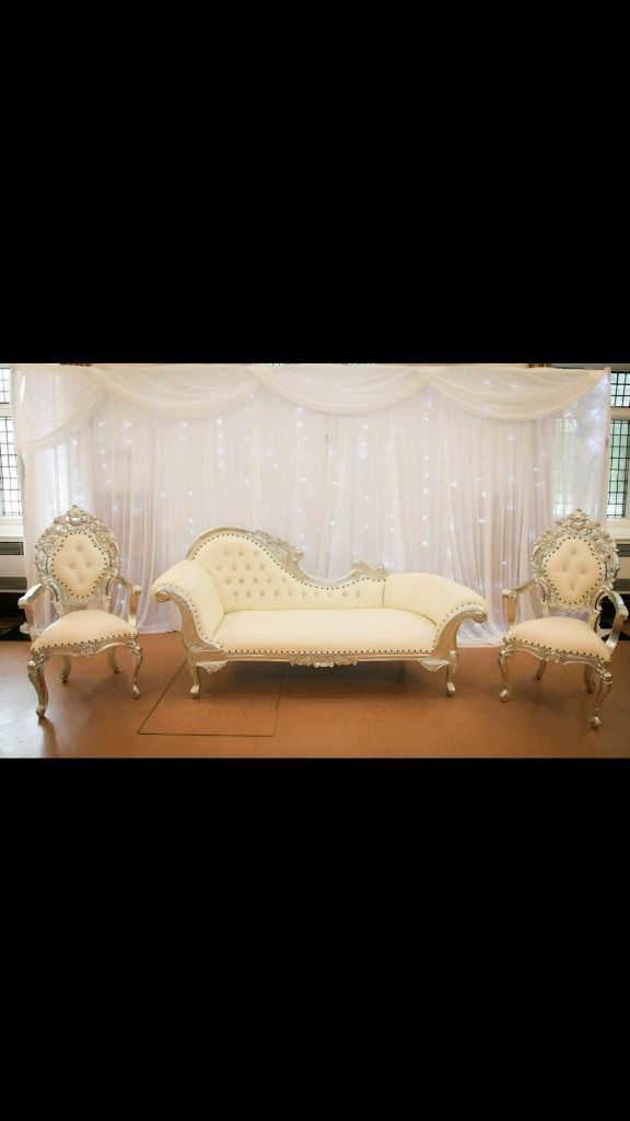 Chaise longue 3 piece sofa set white leather/silver trim